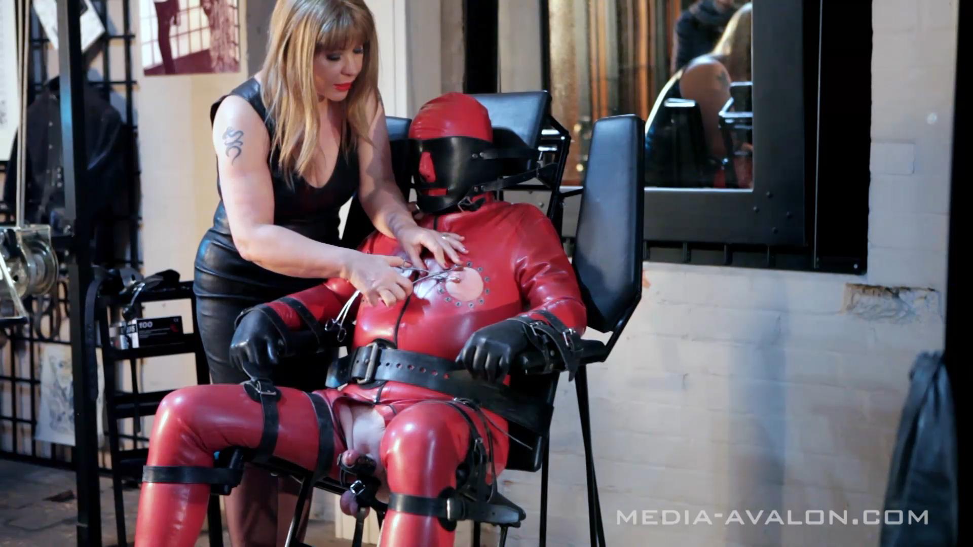 Leather domina nipple torture leather bondage 4