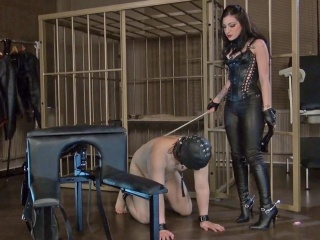 Mistress Cybill Troi is caning her slave