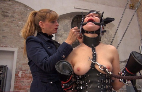 mistree puts a gag in the mouth of the ponygirl